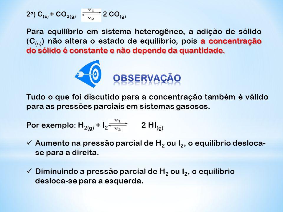 2 o ) C (s) + CO 2(g) 2 CO (g) a concentração do sólido é constante e não depende da quantidade. Para equilíbrio em sistema heterogêneo, a adição de s