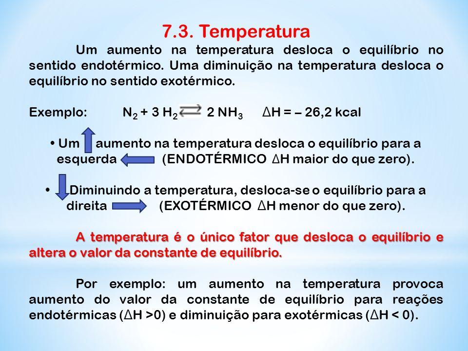 7.3. Temperatura Um aumento na temperatura desloca o equilíbrio no sentido endotérmico. Uma diminuição na temperatura desloca o equilíbrio no sentido