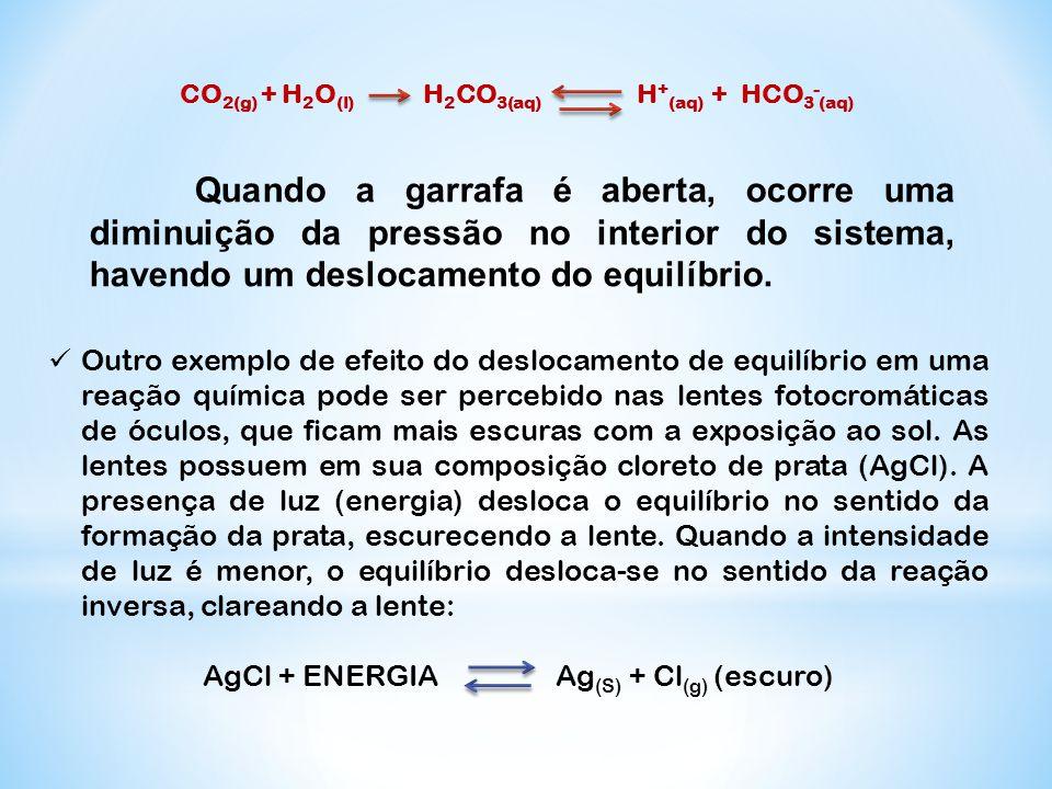 CO 2(g) + H 2 O (l) H 2 CO 3(aq) H + (aq) + HCO 3 - (aq) Quando a garrafa é aberta, ocorre uma diminuição da pressão no interior do sistema, havendo u