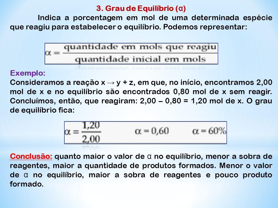 3. Grau de Equilíbrio ( α ) Indica a porcentagem em mol de uma determinada espécie que reagiu para estabelecer o equilíbrio. Podemos representar: Exem