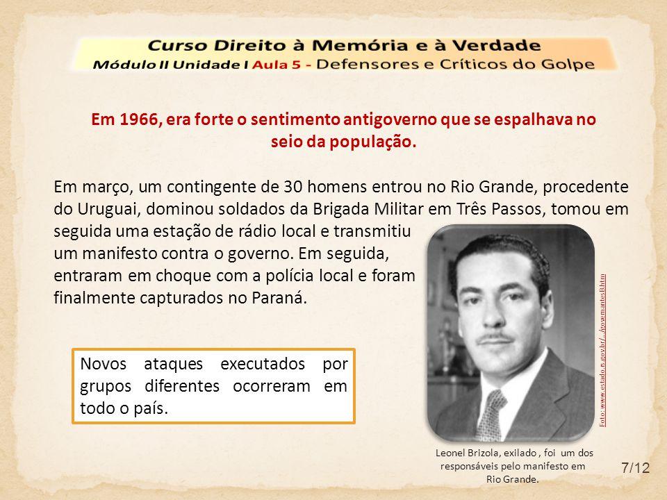 7/12 Em março, um contingente de 30 homens entrou no Rio Grande, procedente do Uruguai, dominou soldados da Brigada Militar em Três Passos, tomou em s