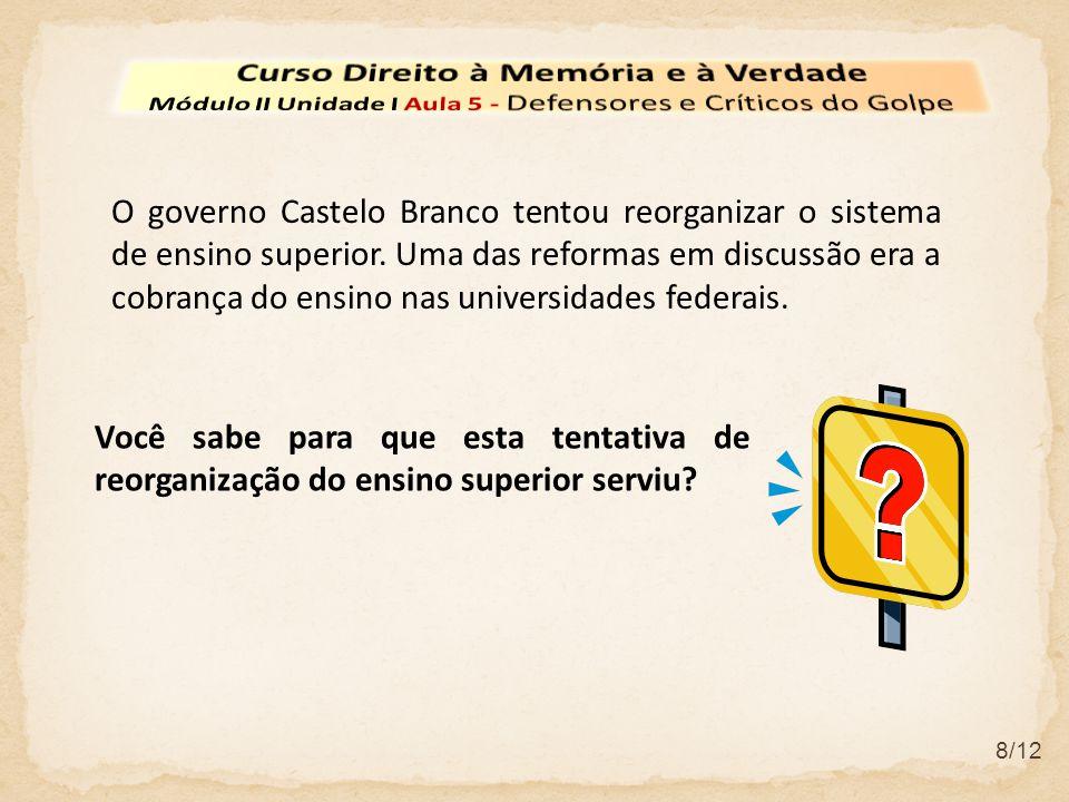 9/12 A tentativa do governo Castelo Branco de reorganizar o sistema de ensino superior ajudou a mobilização estudantil.