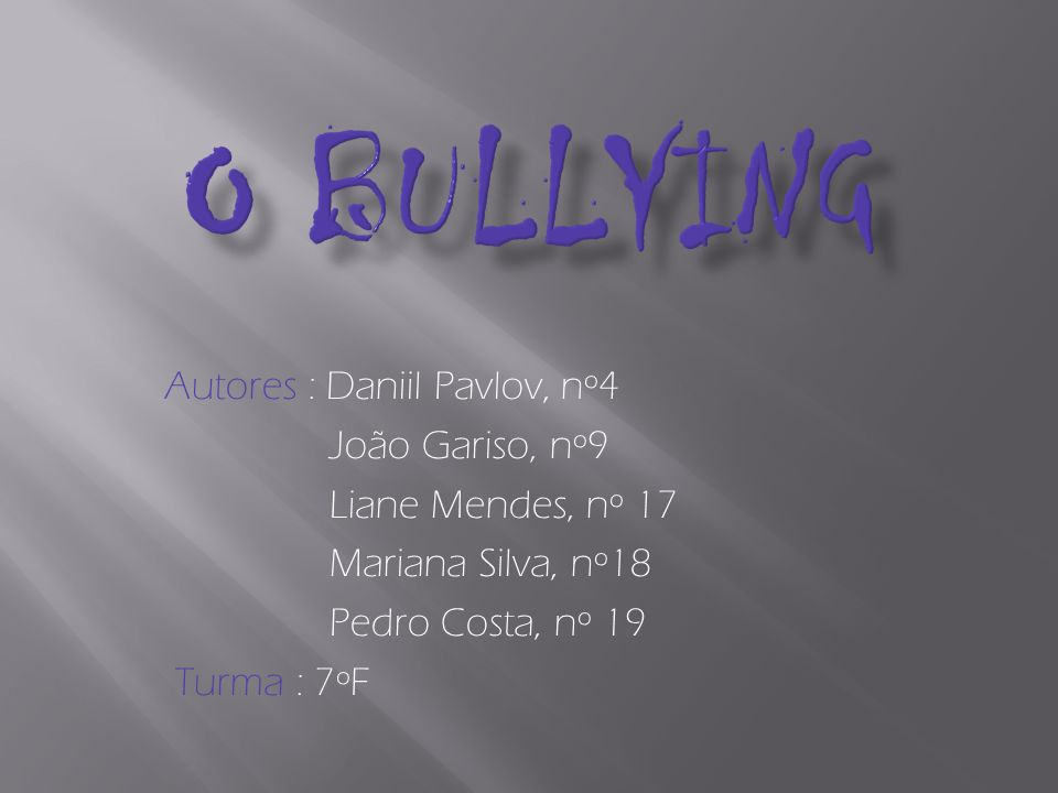 Definição de Bullying Tipos de Bullying Retratos de situações reais Possíveis consequências Formas de prevenção Mensagem final