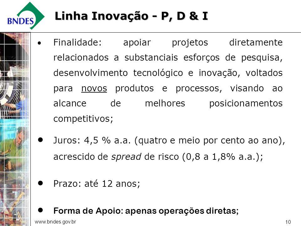 www.bndes.gov.br 10 Finalidade: apoiar projetos diretamente relacionados a substanciais esforços de pesquisa, desenvolvimento tecnológico e inovação,