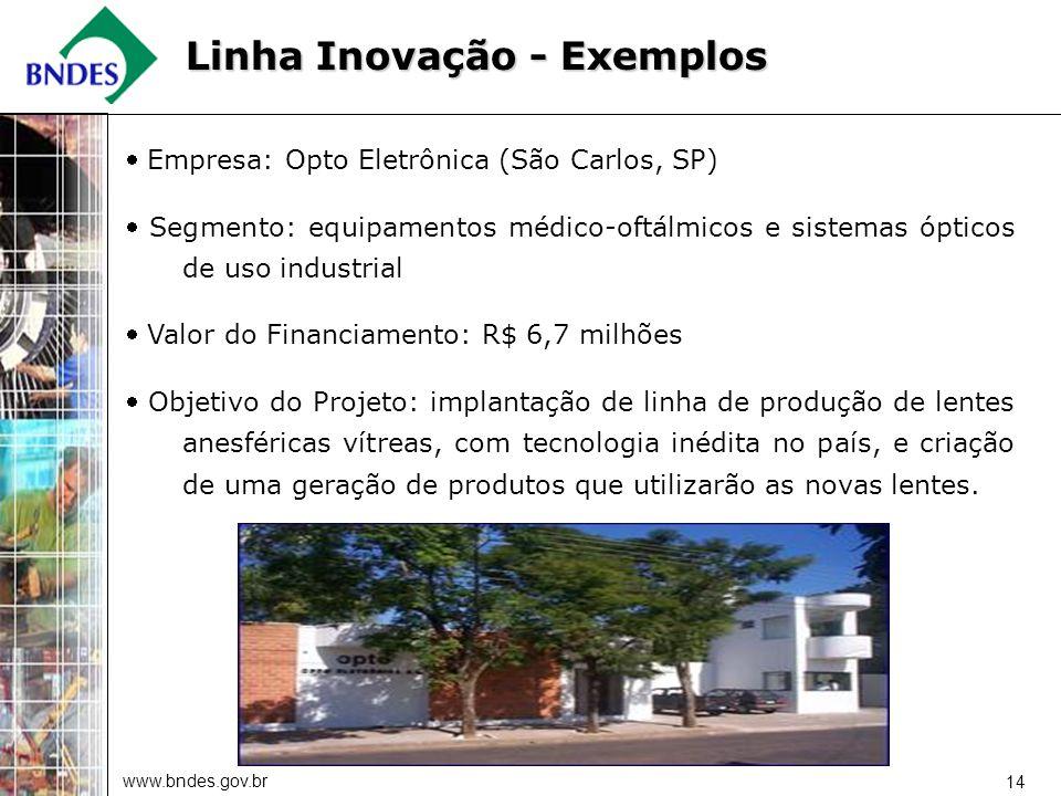 www.bndes.gov.br 14 Empresa: Opto Eletrônica (São Carlos, SP) Segmento: equipamentos médico-oftálmicos e sistemas ópticos de uso industrial Valor do F