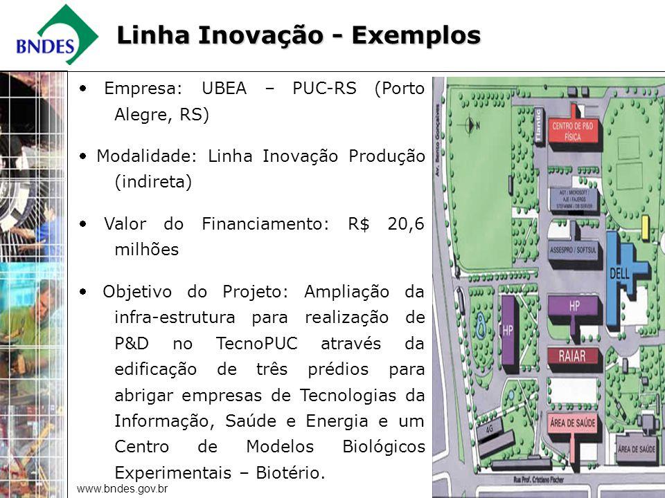 www.bndes.gov.br 15 Empresa: UBEA – PUC-RS (Porto Alegre, RS) Modalidade: Linha Inovação Produção (indireta) Valor do Financiamento: R$ 20,6 milhões Objetivo do Projeto: Ampliação da infra-estrutura para realização de P&D no TecnoPUC através da edificação de três prédios para abrigar empresas de Tecnologias da Informação, Saúde e Energia e um Centro de Modelos Biológicos Experimentais – Biotério.