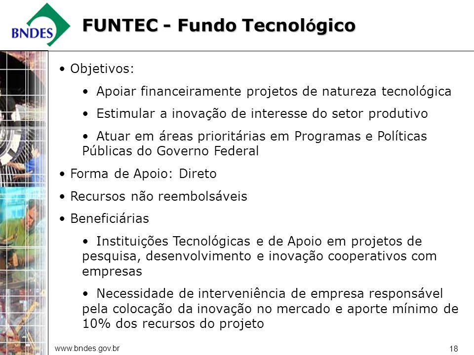 www.bndes.gov.br 18 Objetivos: Apoiar financeiramente projetos de natureza tecnológica Estimular a inovação de interesse do setor produtivo Atuar em á
