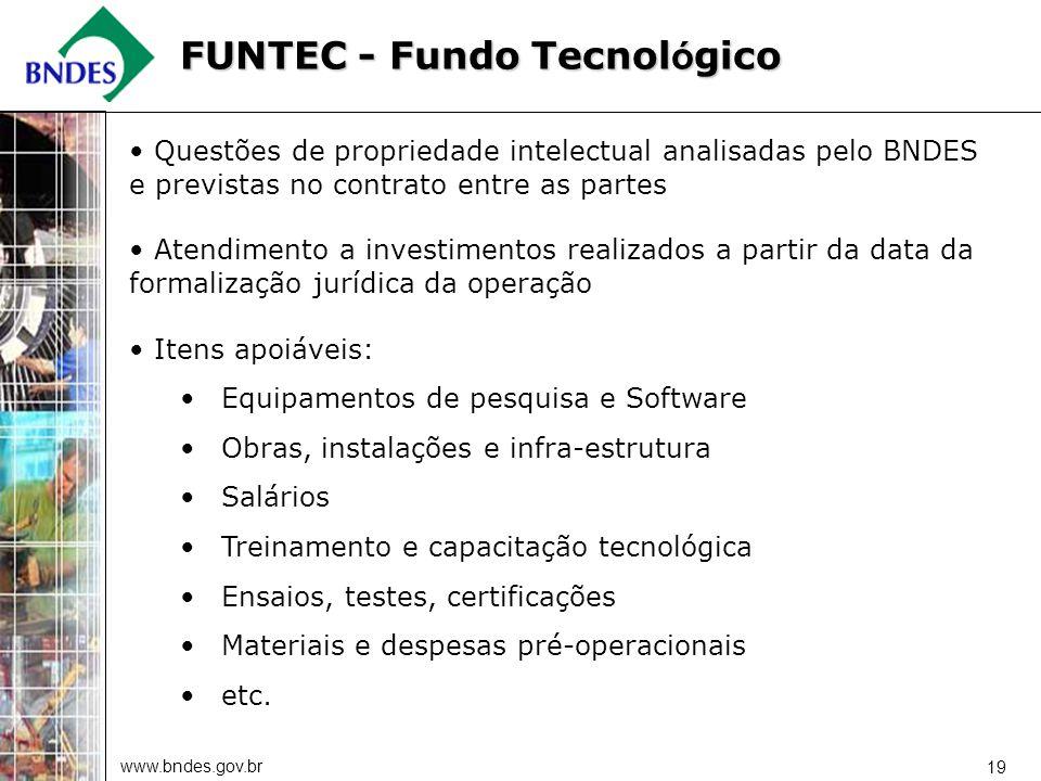 www.bndes.gov.br 19 Questões de propriedade intelectual analisadas pelo BNDES e previstas no contrato entre as partes Atendimento a investimentos real