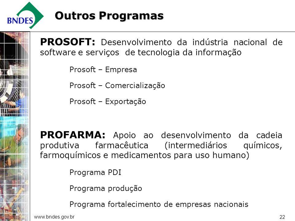 www.bndes.gov.br 22 PROSOFT: Desenvolvimento da indústria nacional de software e serviços de tecnologia da informação Prosoft – Empresa Prosoft – Come