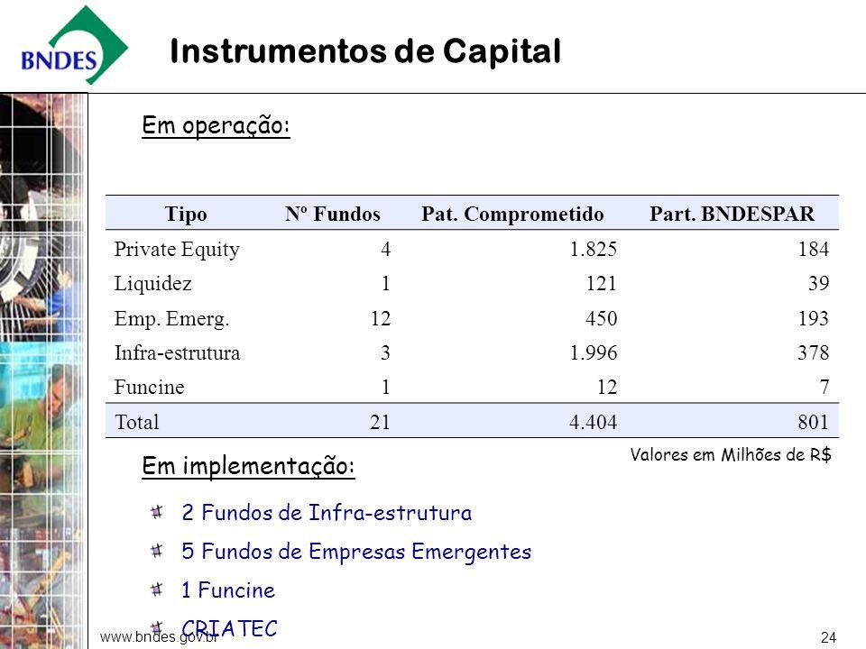 www.bndes.gov.br 24 TipoNº FundosPat. ComprometidoPart. BNDESPAR Private Equity4 1.825184 Liquidez112139 Emp. Emerg.12 450193 Infra-estrutura3 1.99637