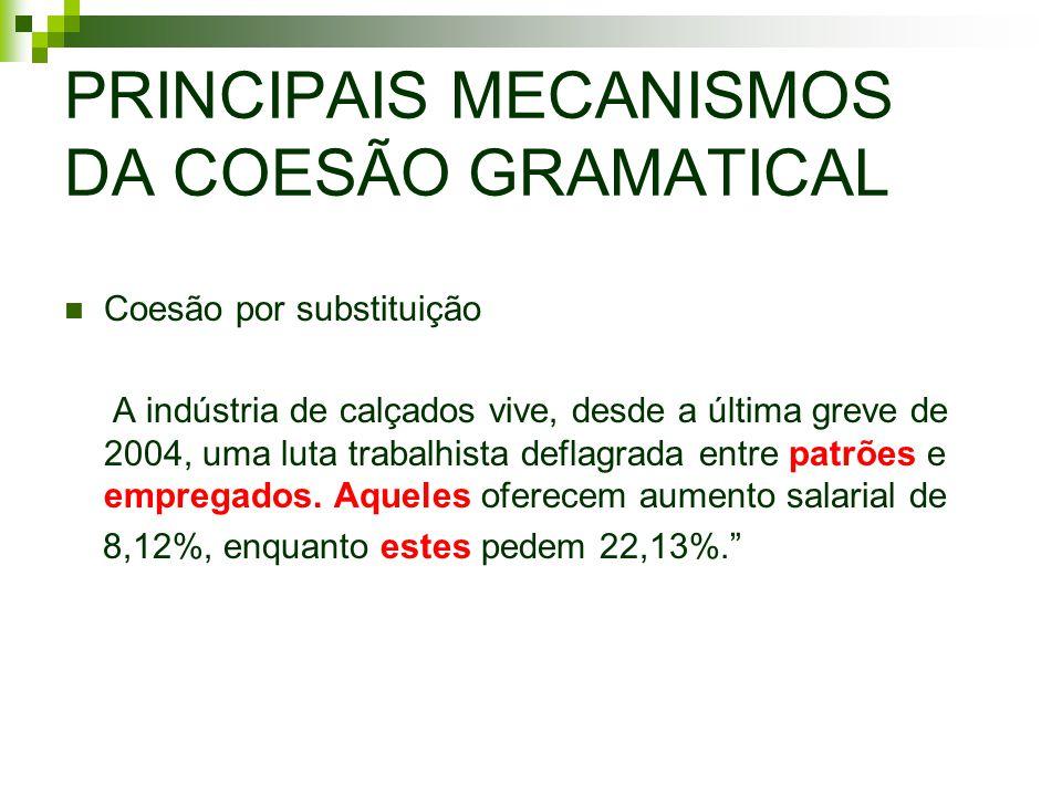 PRINCIPAIS MECANISMOS DA COESÃO GRAMATICAL Coesão por substituição A indústria de calçados vive, desde a última greve de 2004, uma luta trabalhista de