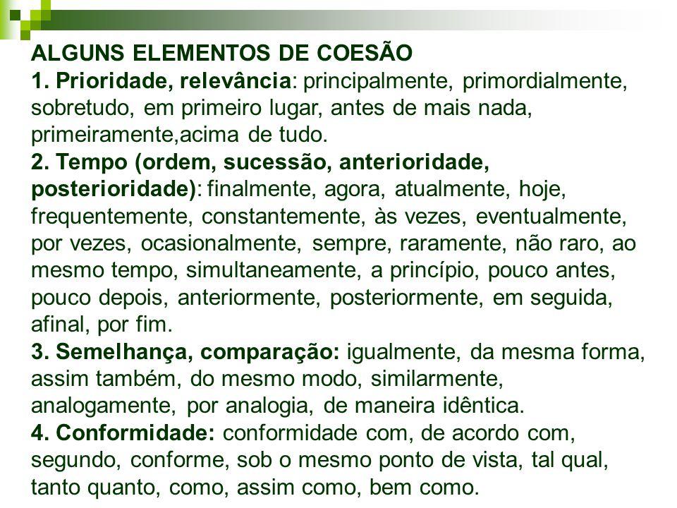 ALGUNS ELEMENTOS DE COESÃO 1.