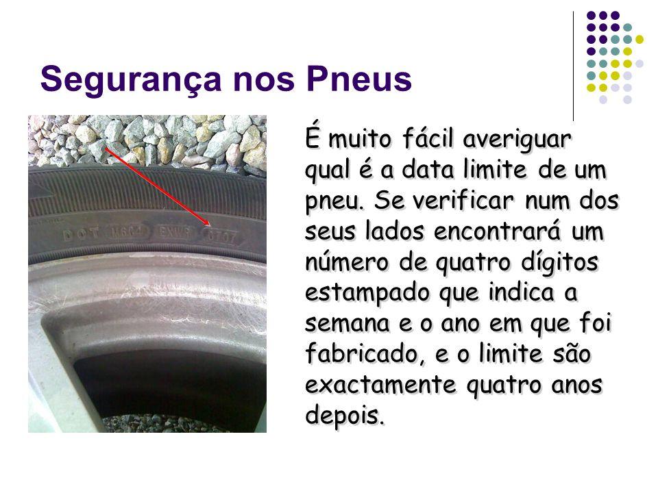Segurança nos Pneus Este número indica que o pneu foi fabricado na sétima semana do ano de 2007, ou seja em Fevereiro de 2007, o que daria como limite de validade Fevereiro de 2011.