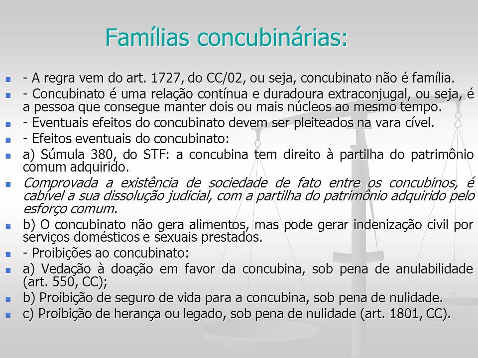 Famílias concubinárias: - A regra vem do art. 1727, do CC/02, ou seja, concubinato não é família. - A regra vem do art. 1727, do CC/02, ou seja, concu