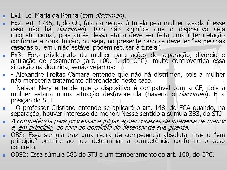 Ex1: Lei Maria da Penha (tem discrimen). Ex1: Lei Maria da Penha (tem discrimen). Ex2: Art. 1736, I, do CC, fala da recusa à tutela pela mulher casada