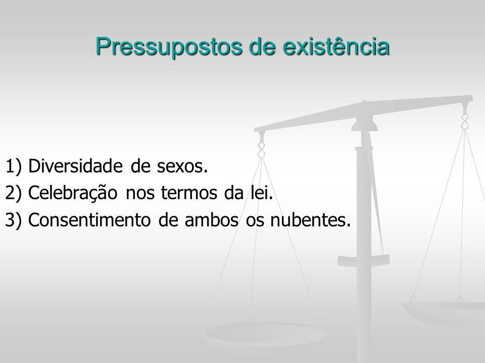 Pressupostos de existência 1) Diversidade de sexos. 2) Celebração nos termos da lei. 3) Consentimento de ambos os nubentes.