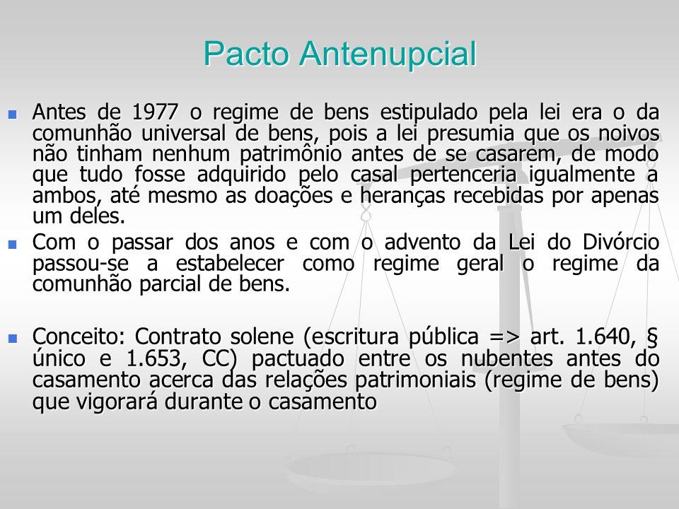 Pacto Antenupcial Antes de 1977 o regime de bens estipulado pela lei era o da comunhão universal de bens, pois a lei presumia que os noivos não tinham