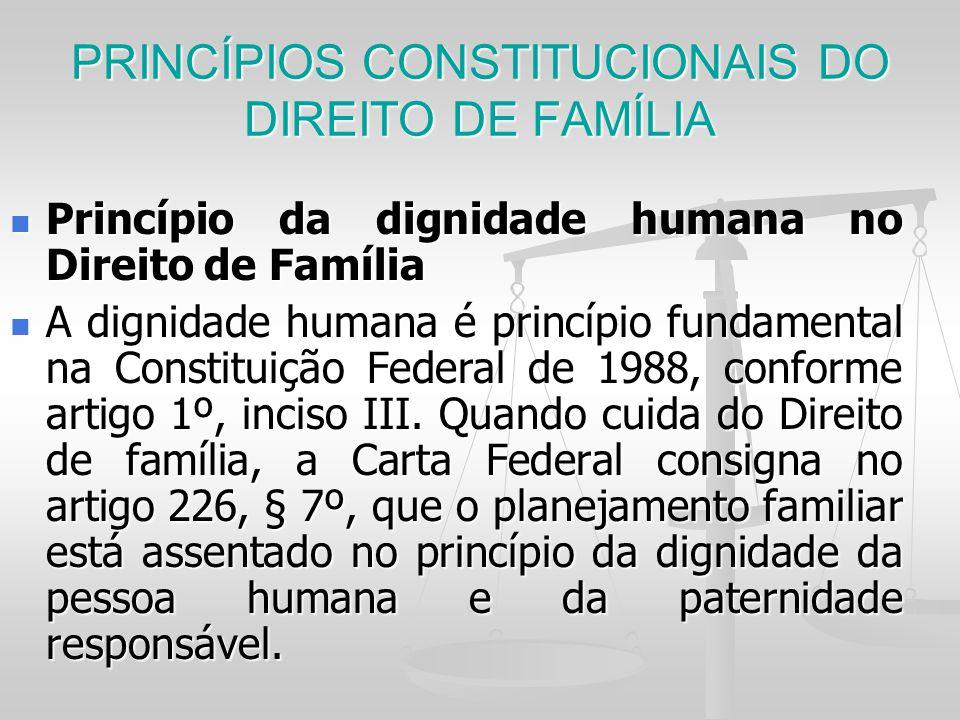 PRINCÍPIOS CONSTITUCIONAIS DO DIREITO DE FAMÍLIA Princípio da dignidade humana no Direito de Família Princípio da dignidade humana no Direito de Famíl