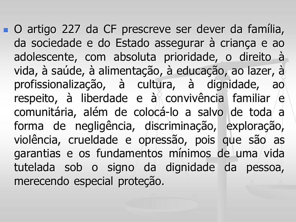 O artigo 227 da CF prescreve ser dever da família, da sociedade e do Estado assegurar à criança e ao adolescente, com absoluta prioridade, o direito à