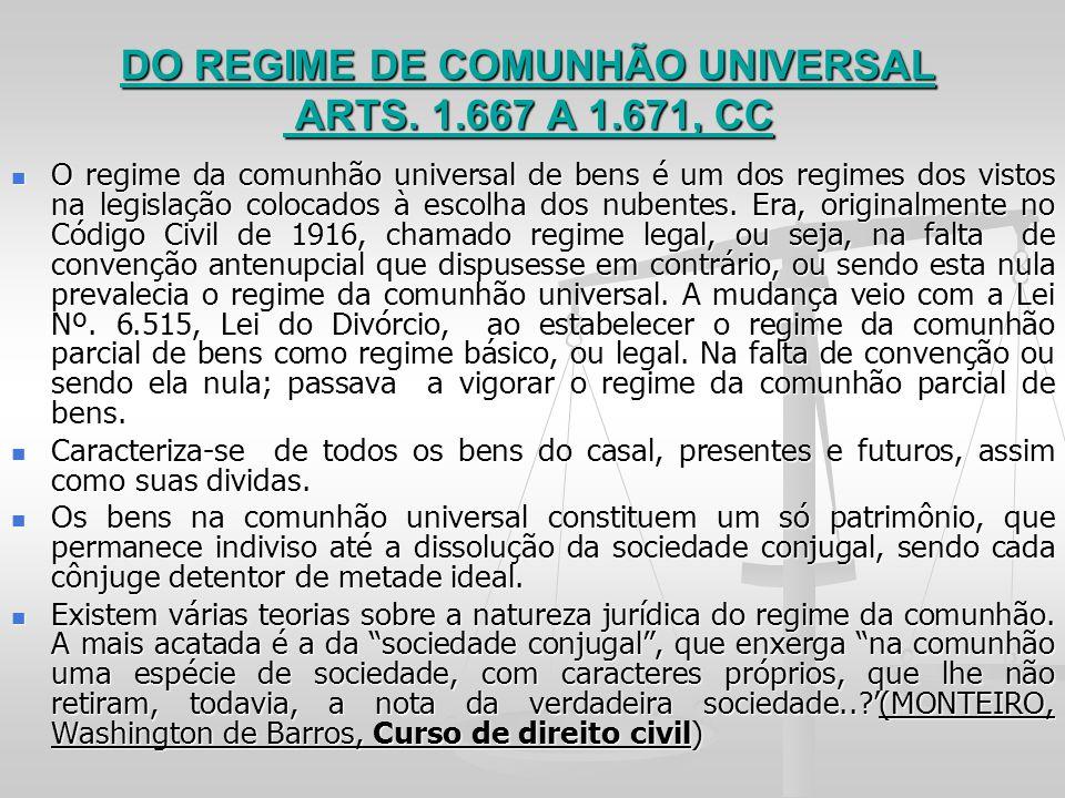 DO REGIME DE COMUNHÃO UNIVERSAL ARTS. 1.667 A 1.671, CC O regime da comunhão universal de bens é um dos regimes dos vistos na legislação colocados à e