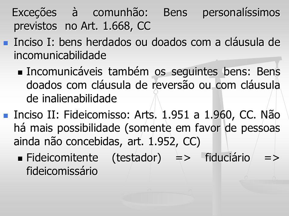 Exceções à comunhão: Bens personalíssimos previstos no Art. 1.668, CC Exceções à comunhão: Bens personalíssimos previstos no Art. 1.668, CC Inciso I: