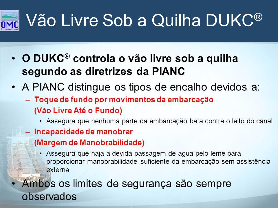 Vão Livre Sob a Quilha DUKC ® O DUKC ® controla o vão livre sob a quilha segundo as diretrizes da PIANC A PIANC distingue os tipos de encalho devidos