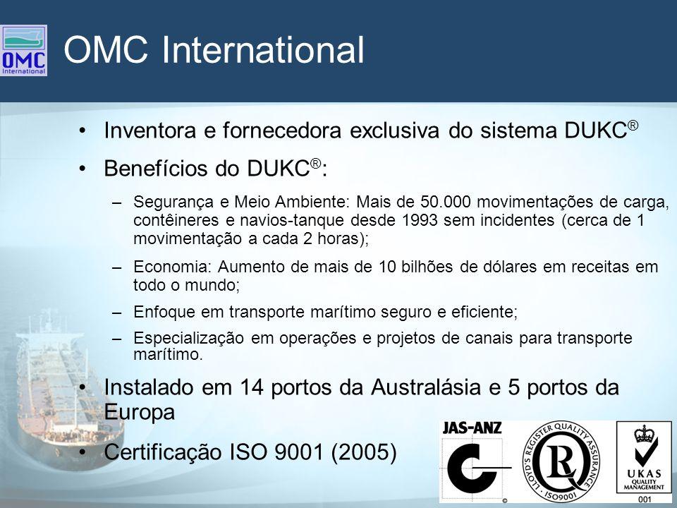 OMC International Inventora e fornecedora exclusiva do sistema DUKC ® Benefícios do DUKC ® : –Segurança e Meio Ambiente: Mais de 50.000 movimentações