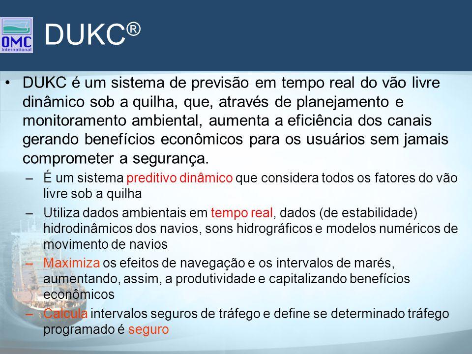DUKC ® DUKC é um sistema de previsão em tempo real do vão livre dinâmico sob a quilha, que, através de planejamento e monitoramento ambiental, aumenta