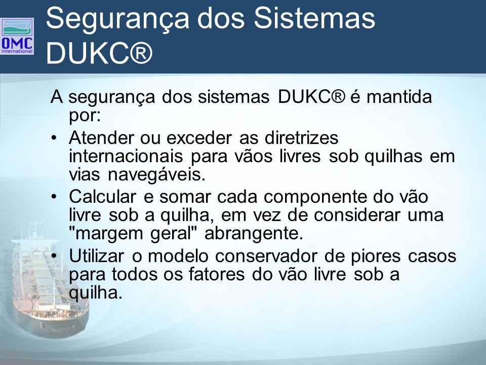 Segurança dos Sistemas DUKC® A segurança dos sistemas DUKC® é mantida por: Atender ou exceder as diretrizes internacionais para vãos livres sob quilha