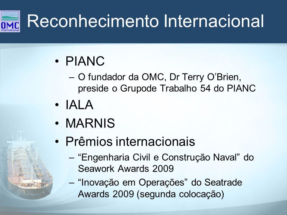 Reconhecimento Internacional PIANC –O fundador da OMC, Dr Terry OBrien, preside o Grupode Trabalho 54 do PIANC IALA MARNIS Prêmios internacionais –Eng