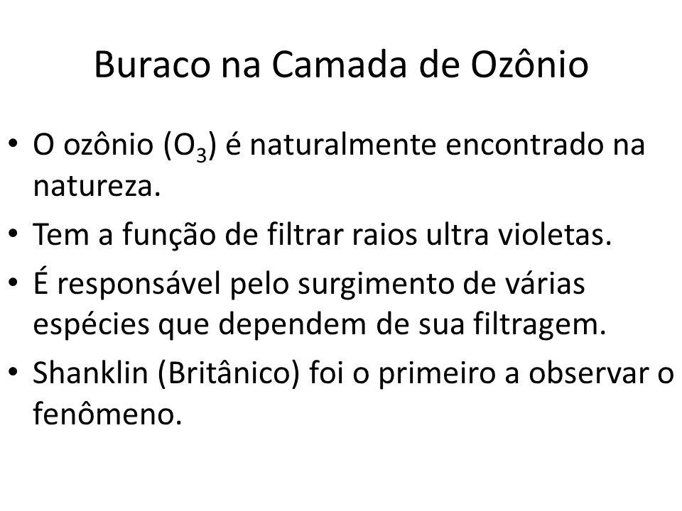 Buraco na Camada de Ozônio O ozônio (O 3 ) é naturalmente encontrado na natureza. Tem a função de filtrar raios ultra violetas. É responsável pelo sur