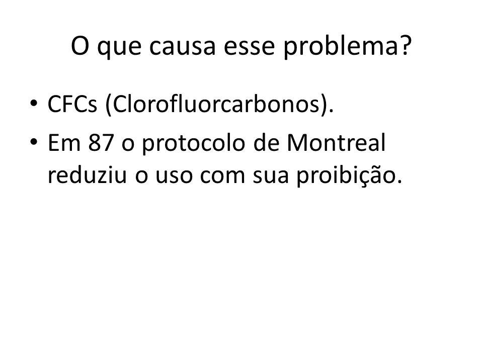 O que causa esse problema? CFCs (Clorofluorcarbonos). Em 87 o protocolo de Montreal reduziu o uso com sua proibição.