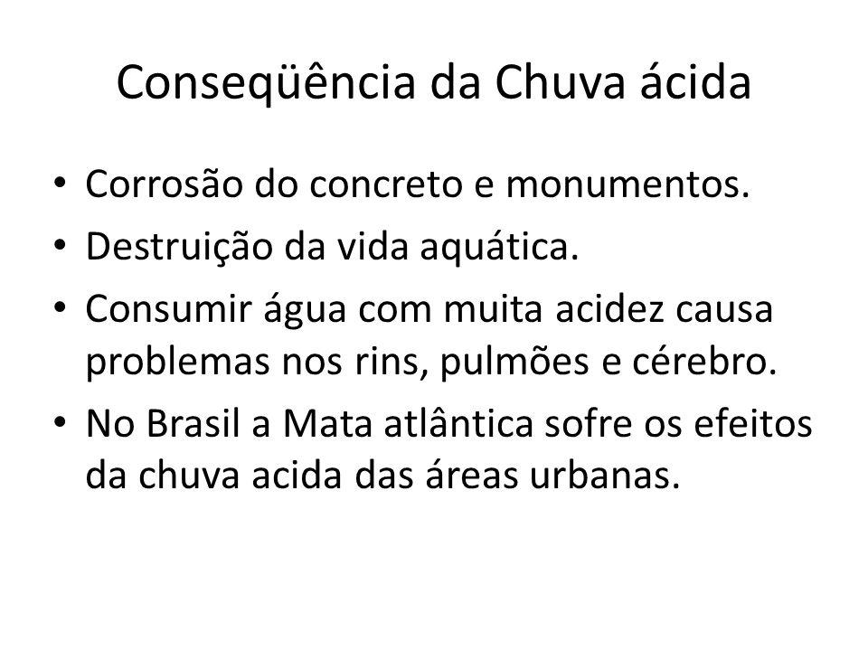 Conseqüência da Chuva ácida Corrosão do concreto e monumentos. Destruição da vida aquática. Consumir água com muita acidez causa problemas nos rins, p