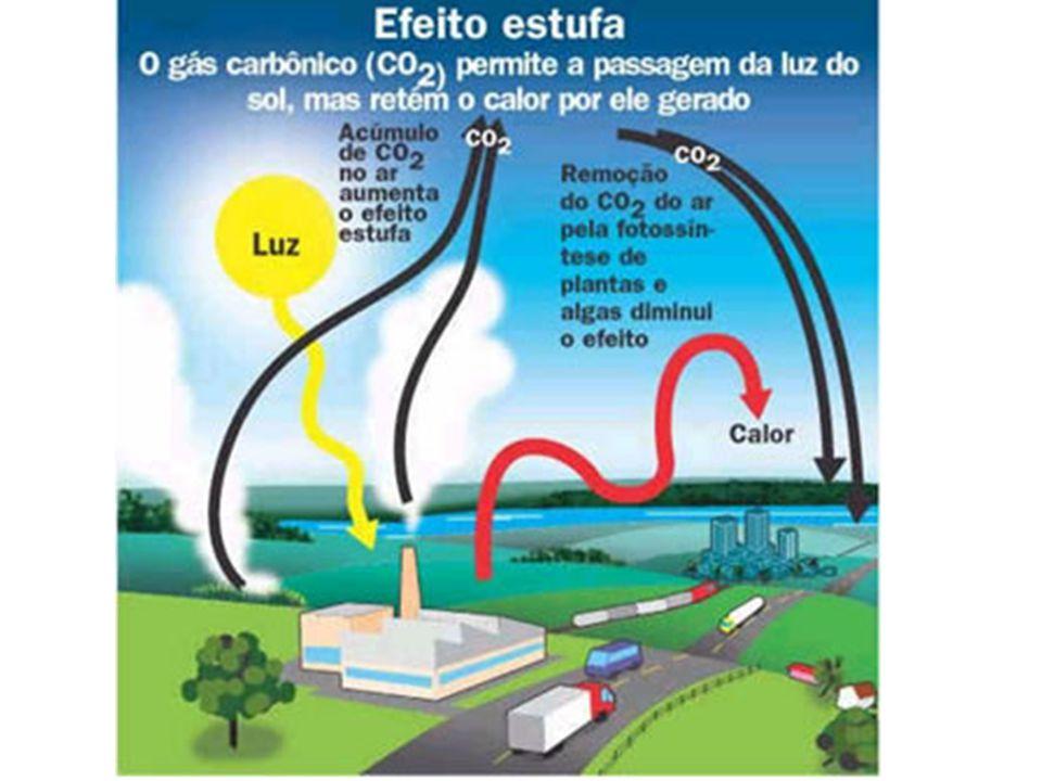 Efeito Estufa A energia do sol ao chegar ao nosso planeta é irradiada de novo para o espaço mas a atmosfera tem a função de reter esse calor.