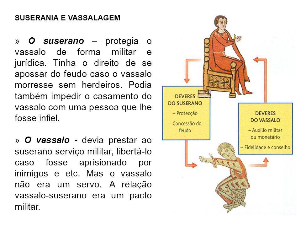 SUSERANIA E VASSALAGEM » O suserano – protegia o vassalo de forma militar e jurídica.