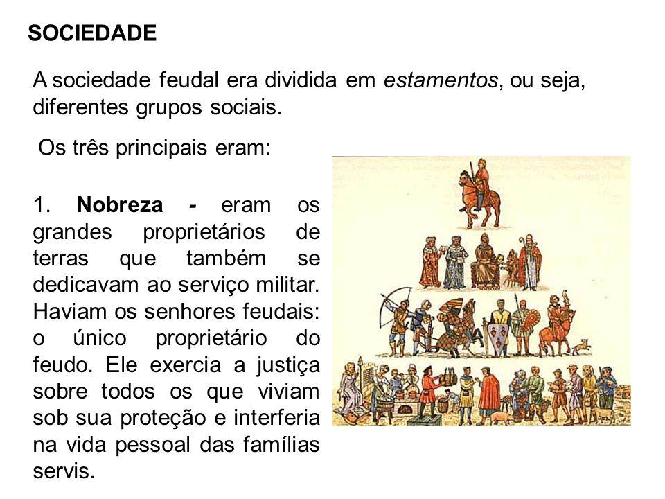 SOCIEDADE A sociedade feudal era dividida em estamentos, ou seja, diferentes grupos sociais.