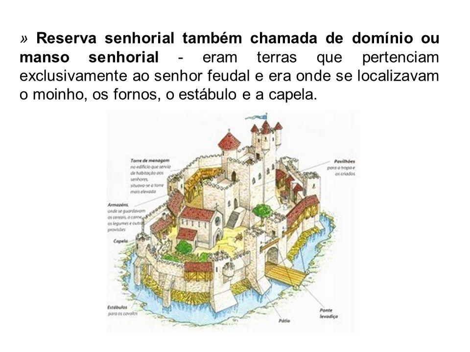 » Reserva senhorial também chamada de domínio ou manso senhorial - eram terras que pertenciam exclusivamente ao senhor feudal e era onde se localizavam o moinho, os fornos, o estábulo e a capela.
