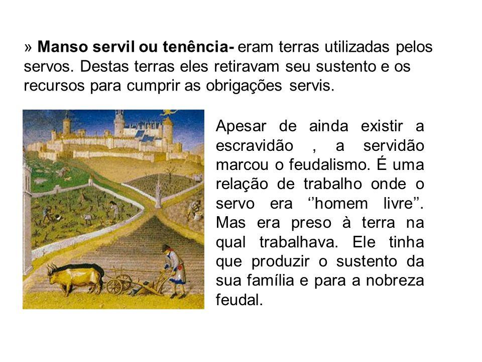 » Manso servil ou tenência- eram terras utilizadas pelos servos.