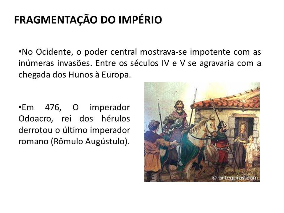 FRAGMENTAÇÃO DO IMPÉRIO No Ocidente, o poder central mostrava-se impotente com as inúmeras invasões.