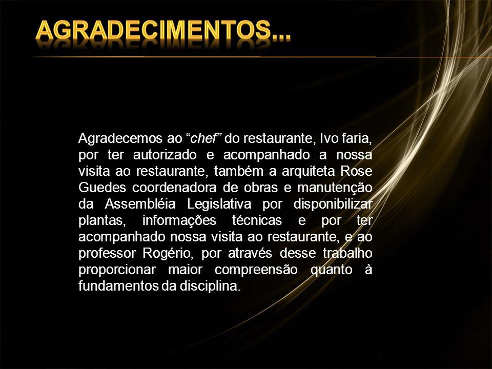 Agradecemos ao chef do restaurante, Ivo faria, por ter autorizado e acompanhado a nossa visita ao restaurante, também a arquiteta Rose Guedes coordena