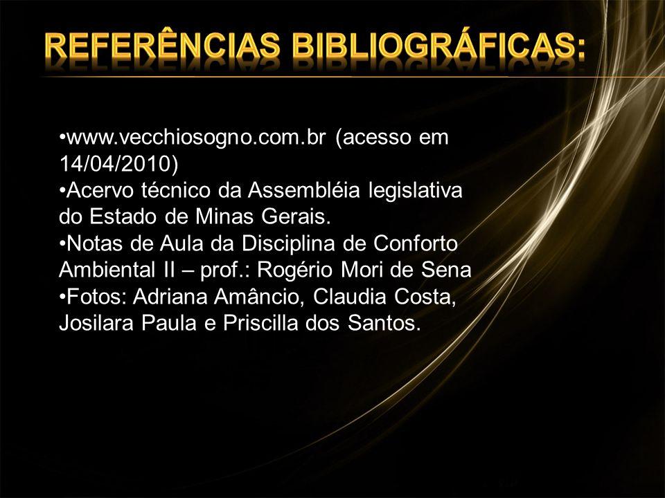 www.vecchiosogno.com.br (acesso em 14/04/2010) Acervo técnico da Assembléia legislativa do Estado de Minas Gerais. Notas de Aula da Disciplina de Conf