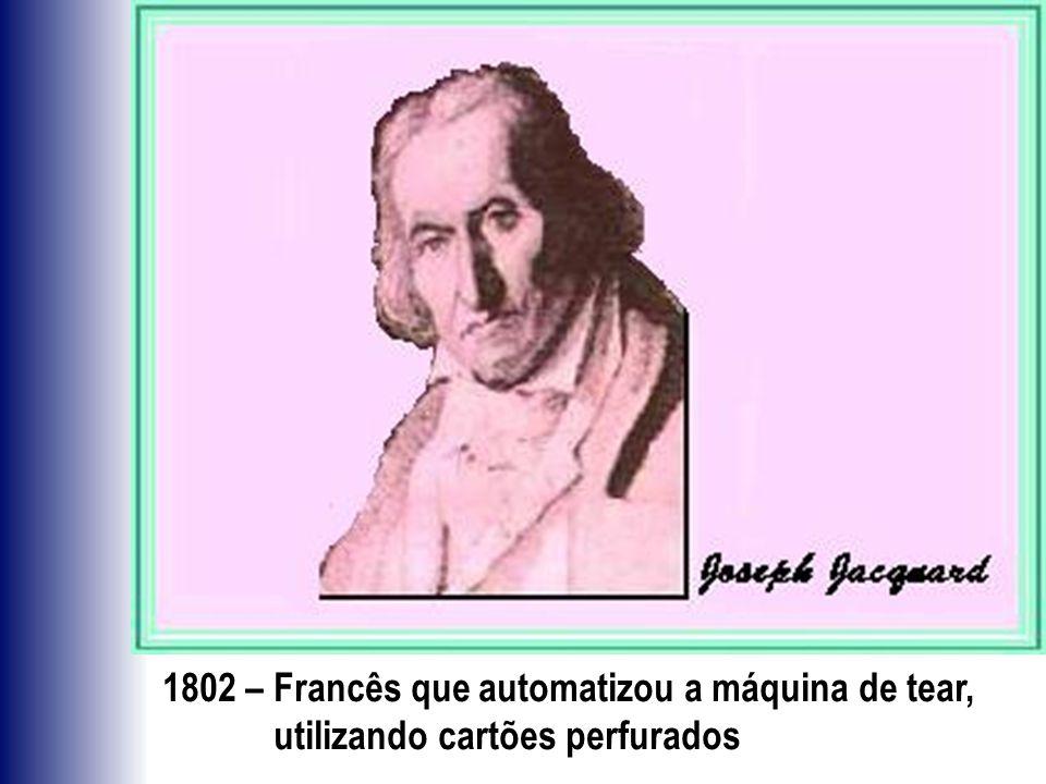1802 – Francês que automatizou a máquina de tear, utilizando cartões perfurados