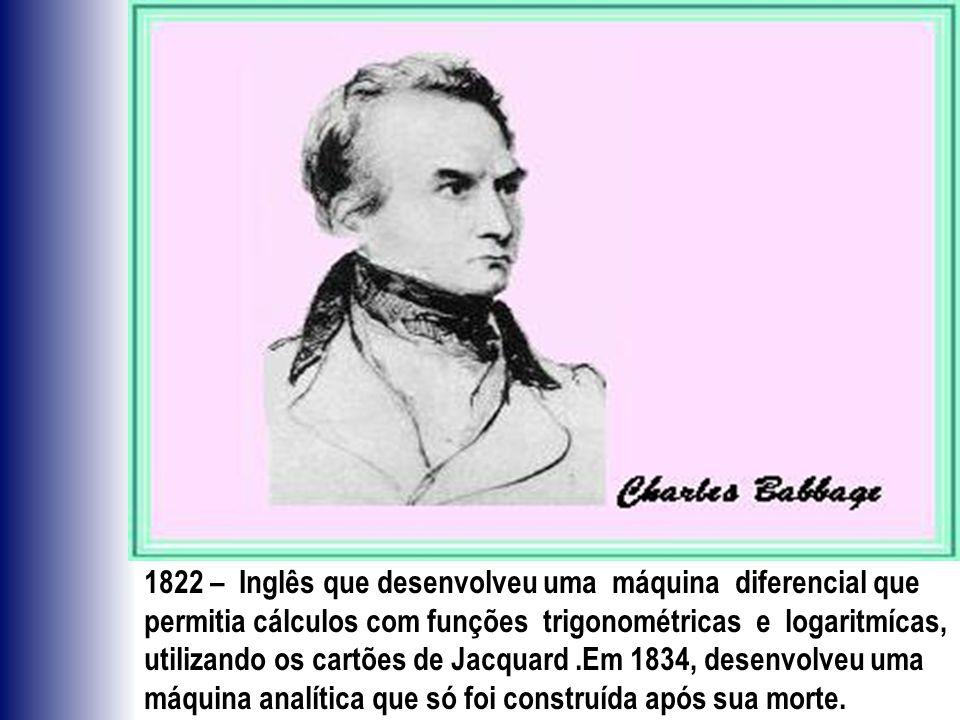 1822 – Inglês que desenvolveu uma máquina diferencial que permitia cálculos com funções trigonométricas e logaritmícas, utilizando os cartões de Jacqu