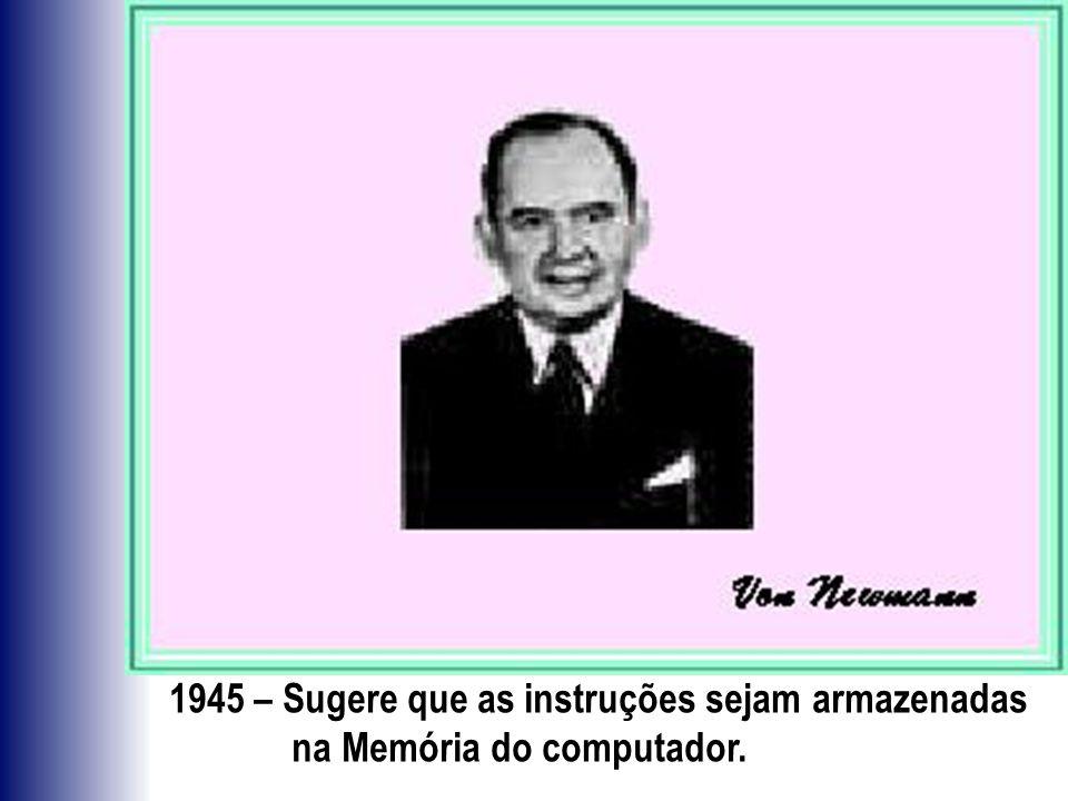 1945 – Sugere que as instruções sejam armazenadas na Memória do computador.