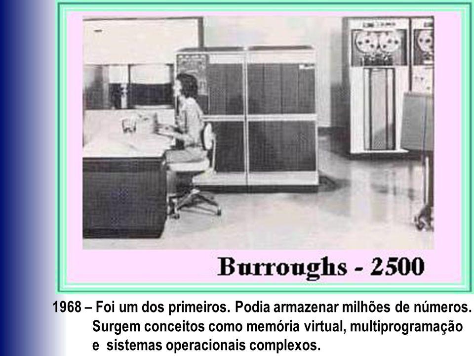 1968 – Foi um dos primeiros. Podia armazenar milhões de números. Surgem conceitos como memória virtual, multiprogramação e sistemas operacionais compl