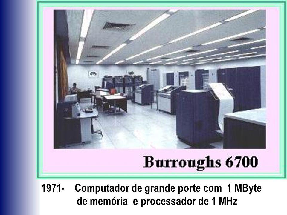 1971- Computador de grande porte com 1 MByte de memória e processador de 1 MHz