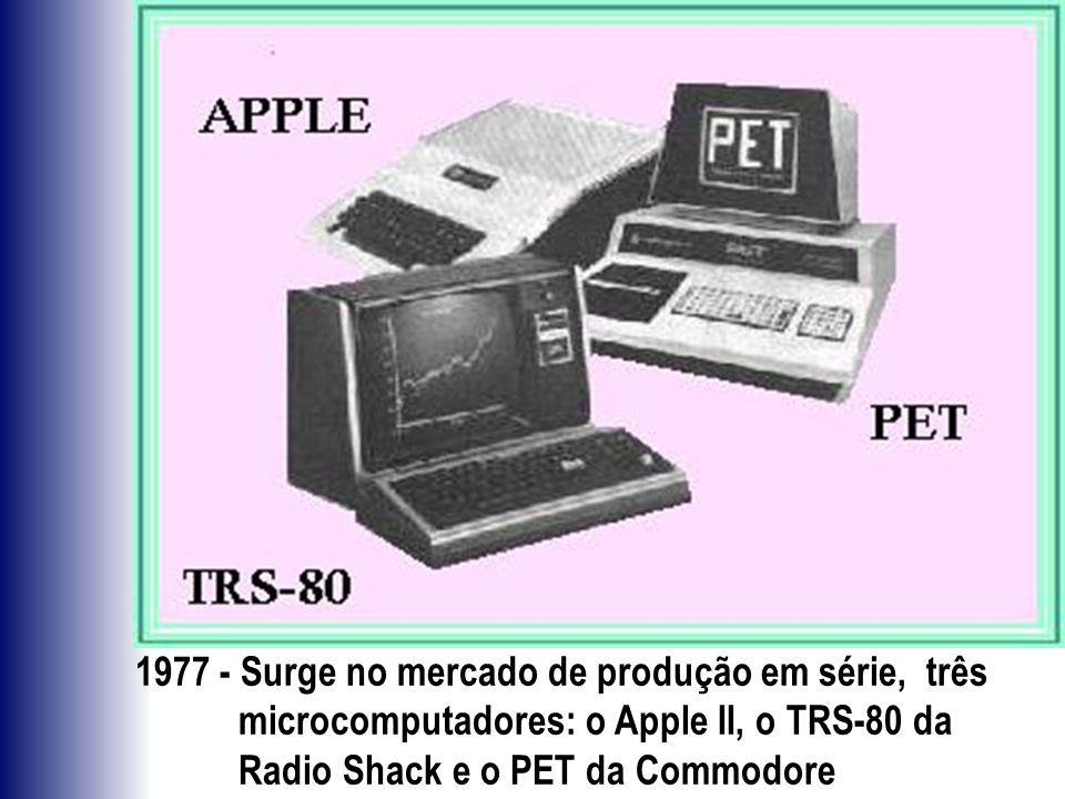 1977 - Surge no mercado de produção em série, três microcomputadores: o Apple II, o TRS-80 da Radio Shack e o PET da Commodore