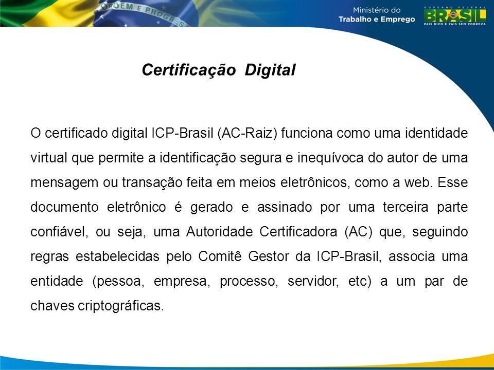 Certificação Digital O certificado digital ICP-Brasil (AC-Raiz) funciona como uma identidade virtual que permite a identificação segura e inequívoca do autor de uma mensagem ou transação feita em meios eletrônicos, como a web.