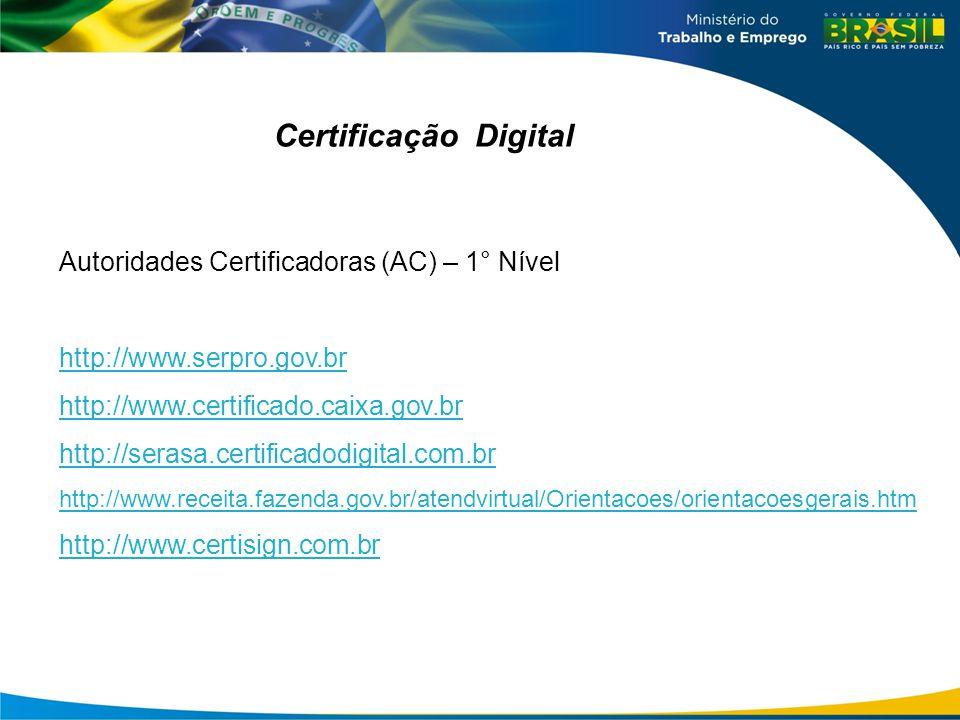 Certificação Digital Autoridades Certificadoras (AC) – 1° Nível http://www.serpro.gov.br http://www.certificado.caixa.gov.br http://serasa.certificadodigital.com.br http://www.receita.fazenda.gov.br/atendvirtual/Orientacoes/orientacoesgerais.htm http://www.certisign.com.br