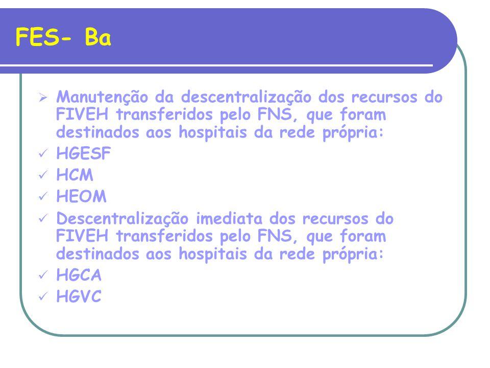 FES- Ba Manutenção da descentralização dos recursos do FIVEH transferidos pelo FNS, que foram destinados aos hospitais da rede própria: HGESF HCM HEOM Descentralização imediata dos recursos do FIVEH transferidos pelo FNS, que foram destinados aos hospitais da rede própria: HGCA HGVC